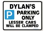 DYLAN'S Personalised Gift |Unique Present for Him | Parking Sign - Size Large - Metal faced